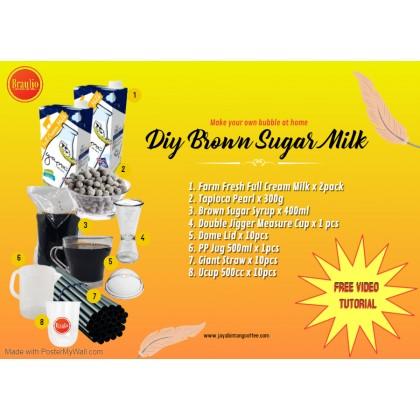Bubble Milk Diy Kit/ DIY Bubble Tea Kit/ Brown Sugar Pearl Milk/Tealive
